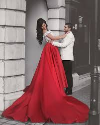 white and red two piece prom dress 2017 off the shoulder long