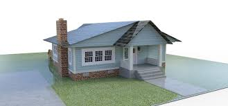 3d 1940 bungalow house model
