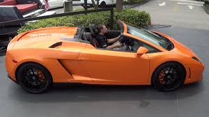 Orange Lamborghini Gallardo Spyder Start Up Interior Drive At