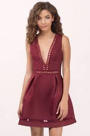 wine dress ladder trim dress red pleated dress skater dress