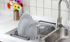dish drainer for small side of sink amazon com over the sink kitchen dish drainer rack durable chrome