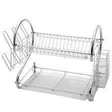 Plastic Dish Drying Rack Amazon Com 2 Tier Chrome Plating Iron Dish Drying Rack Utensil