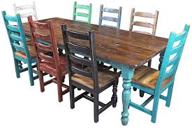 mexican dining table set multi color mexican colonial painted wood dining set 9 piece