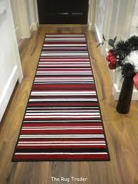 Striped Runner Rug Modern Stripe Rug Red Black Hall Runner 60cm X 220cm Amazon Co Uk