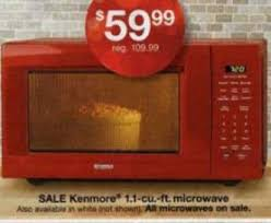 black friday microwave oven black friday deal kenmore 1 1 cu ft countertop microwave red 6622