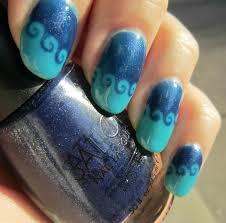 concrete and nail polish sation blues u0026 smart nails waves nail art