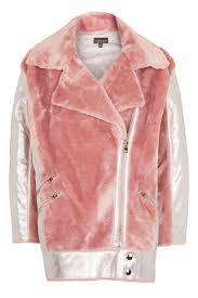 pink motorcycle jacket metallic faux fur biker jacket metallic fur and topshop