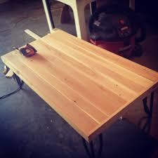metal frame for table top diy cedar table top on pre existing metal frame pre stain diy