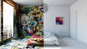 half white half graffiti designer splits hotel room into two