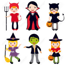 an illustration of kids in halloween costumes royalty free