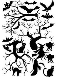 amazon com halloween window cling set of bats a tree and haunted