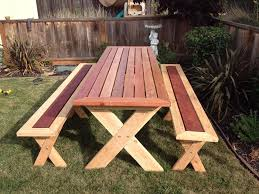 Plans For Picnic Table With Attached Benches by Sleek Picnic Table With Detached Benches 6 Steps With Pictures