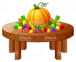fruits and vegetables on round wooden table stock vector art