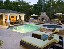 Backyard Pool Designs by Plain Backyard Pool And Outdoor Kitchen Designs With Garden Design