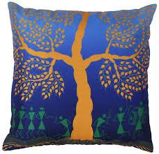 Unique Home Decor Wholesale Wholesale 18 X 18 Inch Unique Warli Art Cushion Cover Faux Silk