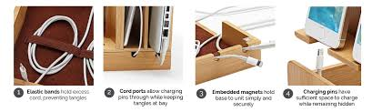 laptop charging station home multi device charging station and dock eco friendly bamboo