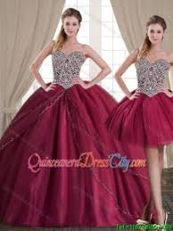 burgundy quince dresses fashionable burgundy brush tulle detachable quinceanera