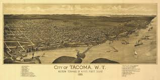 Tacoma Washington Map by Tacoma Washington Birds Eye View Map 1885