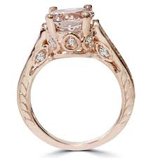 2ct engagement rings 2 carat morganite diamond vintage engagement ring 14k gold