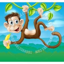 cartoon monkey in jungle swinging on vine by geoimages toon