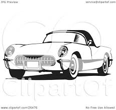 old cars black and white clipart illustration of an old corvette car in black and white by