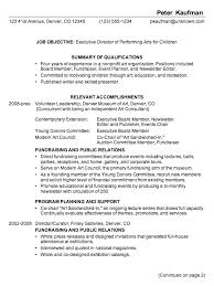 Resume For Non Profit Job by Resume For Executive Director Performing Arts Susan Ireland Resumes