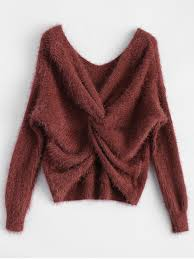 chenille sweater fluffy twisted chenille sweater claret sweaters one size zaful