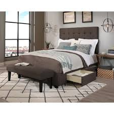 Upholstered Headboard Storage Bed by Republic Design House King Cal King Size Manhattan Grey Headboard