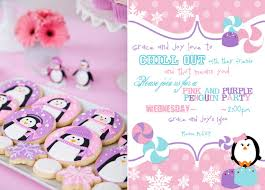 pink and purple penguin party penguin baby showers penguin baby