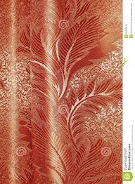 Orange Patterned Curtains Texture Of Red And Beige Satin Patterned Curtains With Folds Stock
