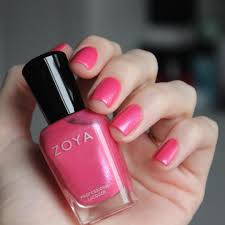 zoya nail polish in azalea a classic spring pink with a white