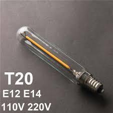 t20 led filament bulbs 1w dimmable e12 e14 tubular clear glass