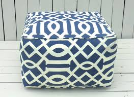 blue outdoor pouf square ottoman bean bag chair blue outdoor