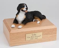 dog cremation bernese mountain dog cremation figurine urn w wooden storage box
