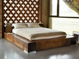 bedroom black queen platform bed with gallery and no headboard