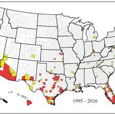 california map in usa new map shows where zika mosquitoes live in u s nbc news