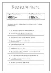 esl worksheets for adults possessive nouns