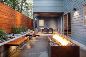 Floating Fire Pit by Metal Fire Pit Patio Contemporary With Floating Bench Tropical