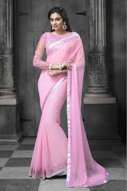 chiffon party wear designer saree in baby pink colour