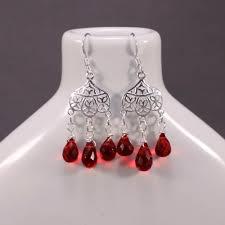 Red Chandelier Earrings Red Quartz Gemstone U0026 Sterling Silver Chandelier Earrings