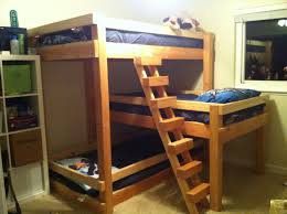 Bunk Bed Plans With Stairs Wonderful Brown Varnished Bunk Bed Feat Blue Cover Sheet