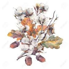vintage bouquet watercolor autumn vintage bouquet of twigs cotton flower yellow