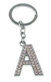 cheap keychains wholesale letter charm pewter rhinestone key cha