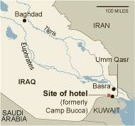 basra map c bucca in iraq once a prison base now houses a hotel the