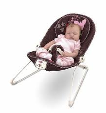 dark brown pink flowers baby bouncer chair musical infant seat