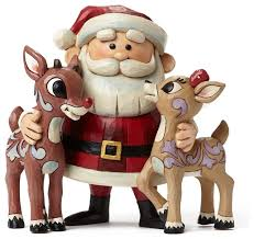 enesco jim shore rudolph red nosed reindeer santa clarice