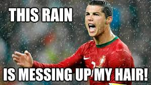 Forrest Gump Rain Meme - this rain is messing up my hair messing up ronaldos hair