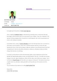 Resume For Cnc Operator Senthil Resume