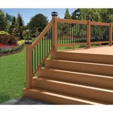home depot interior stair railings deckorail western cedar 6 ft railing kit with black aluminum