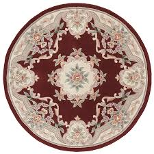 Round Rug 6 by Shop Rugs America New Aubusson Burgundy Round Indoor Tufted Area